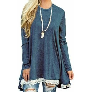 Long sleeve scoop neck lace trimmed top